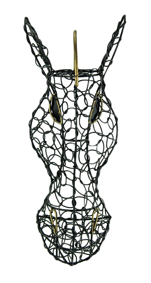 587x1100 Zeckos Silver Finish Looped Metal Zebra Head Wall Hanging