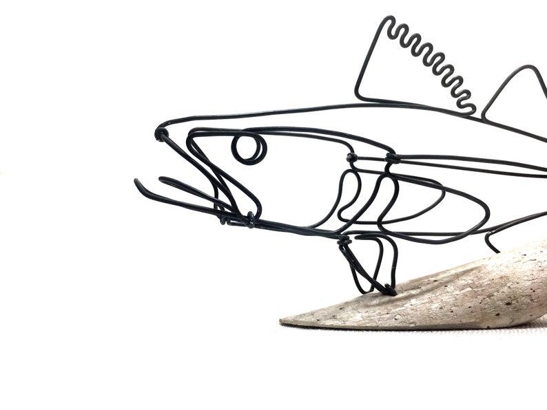 794x596 walleye wire sculpture fish wire art minimal wire design etsy
