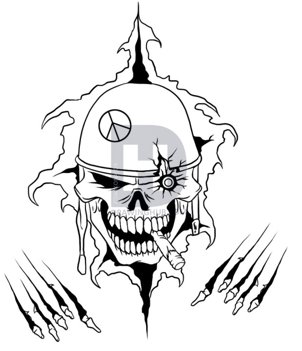 619x720 How To Draw A War Skull, Step