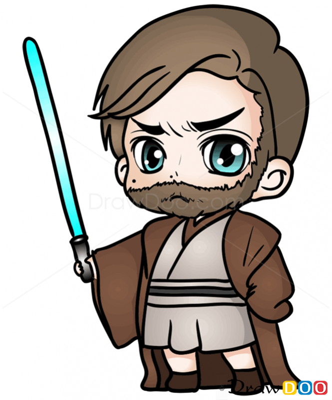 665x801 How To Draw Obi Wan, Chibi Star Wars