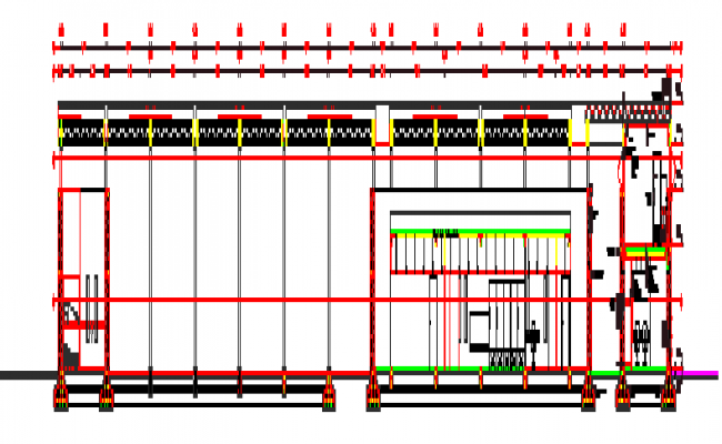 650x400 Section Drawing Of Comprehensive Court Warehouse Design Drawing