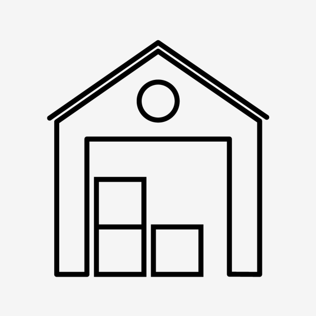 640x640 Warehouse Line Black Icon, Warehouse, Store, Box Png And Vector