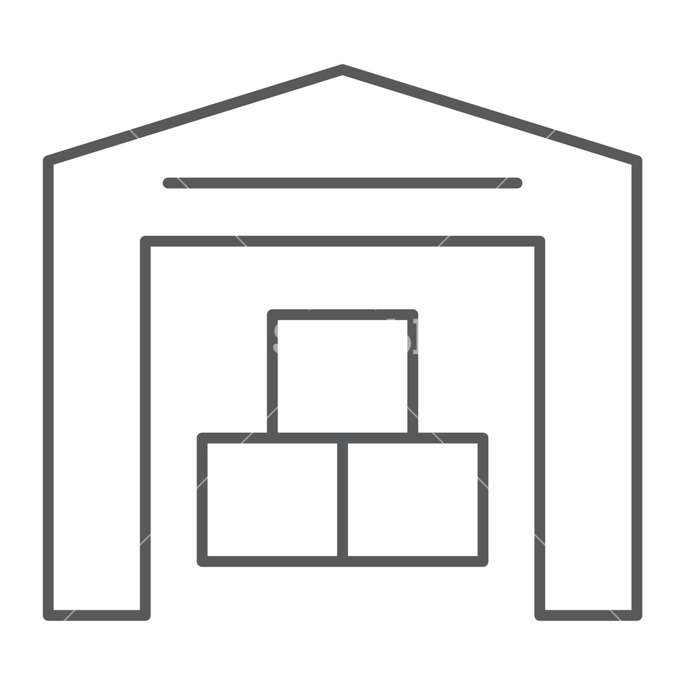 1000x1000 Warehouse Thin Line Icon, Building And Store, Storage Sign, Vector