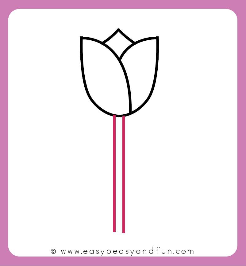 802x870 How To Draw A Tulip For Kids