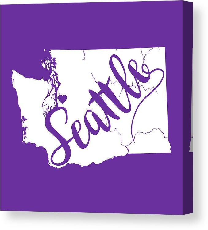 678x749 Seattle, Washington State Vector Map Canvas Print Canvas