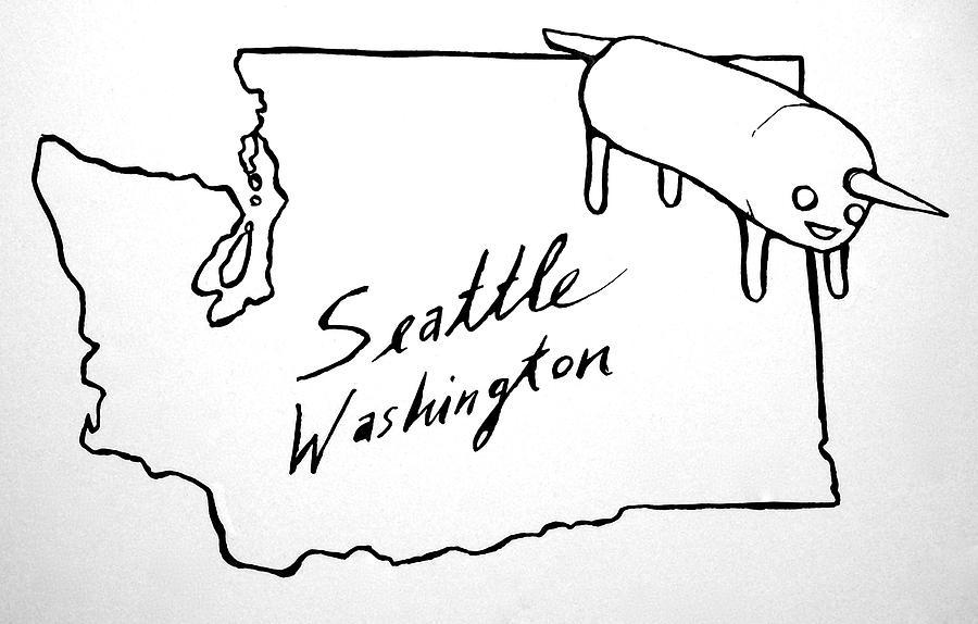 900x574 Washington State Burrito Unicorn Drawing