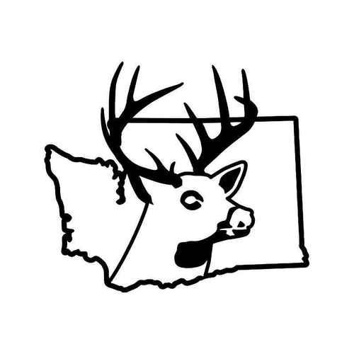 500x500 Washington State Deer Buck Hunting Vinyl Sticker