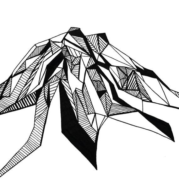 570x570 Washington State Mountains Polygonal Drawings Art Print Collection