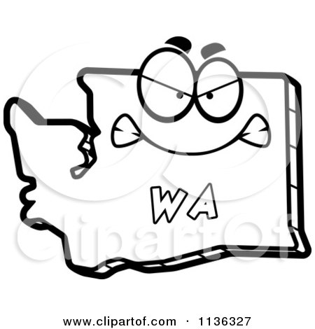 450x470 Cartoon Clipart Of An Outlined Mad Washington State Character
