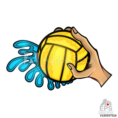 500x500 hand hold water polo ball with water splash from one side vector