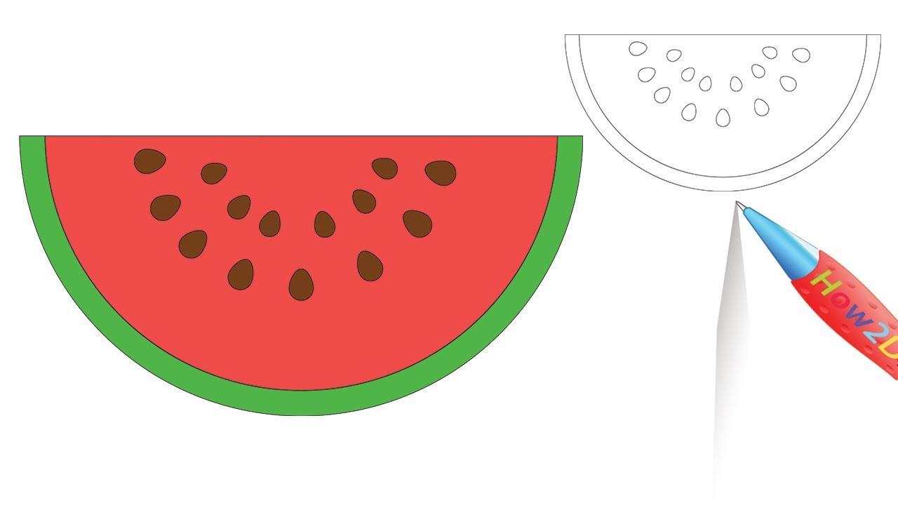 1280x720 how to draw a watermelon slice step