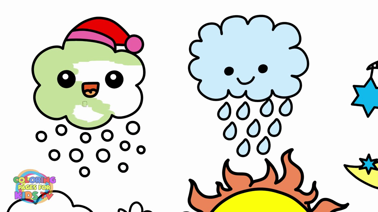 1280x720 Cute Weather Characters Drawing For Kids Coloring And Drawing