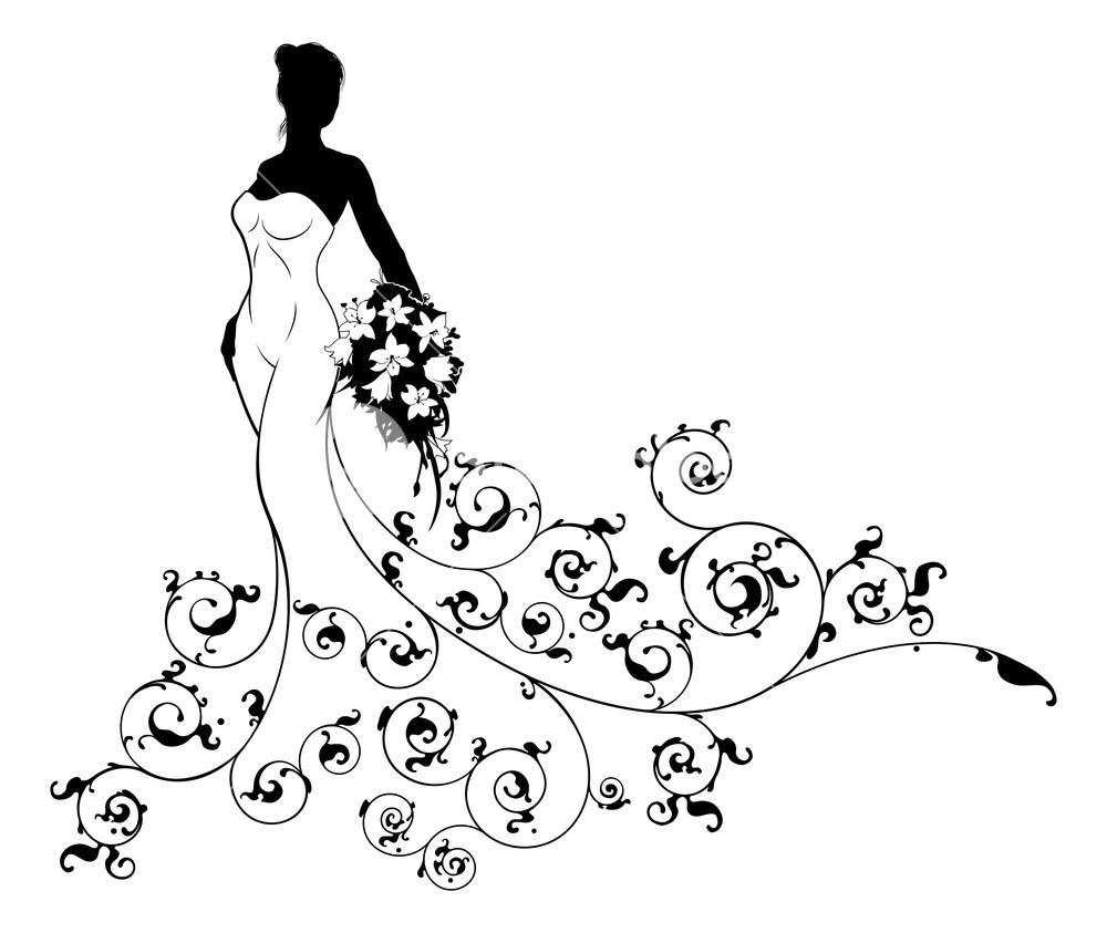 1000x843 wedding bride silhouette, the bride in a white bridal dress gown