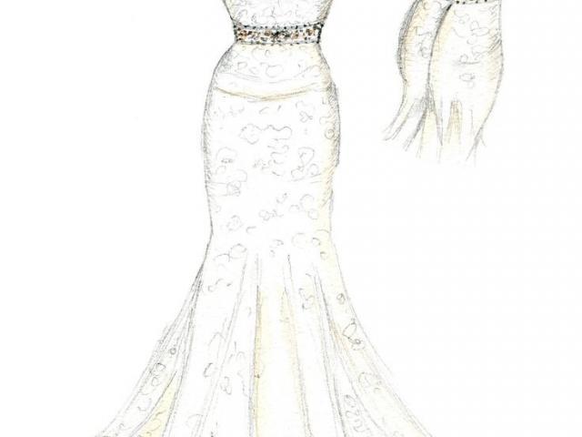 640x480 Drawn Wedding Dress Sketch