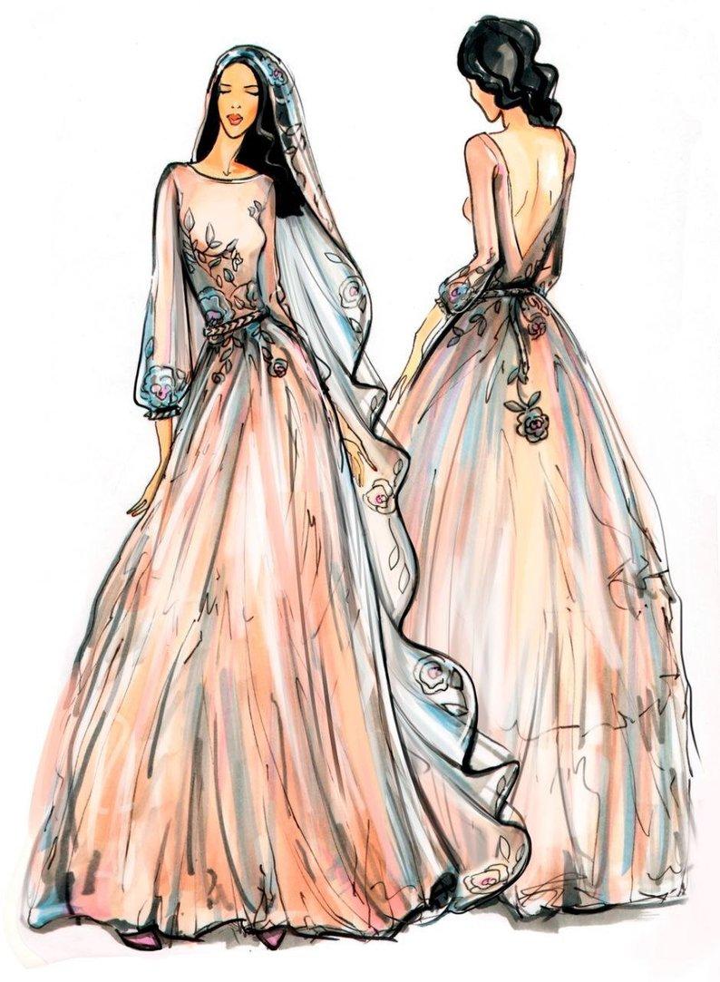 794x1083 Sketch For Custom Made Wedding Dress Etsy