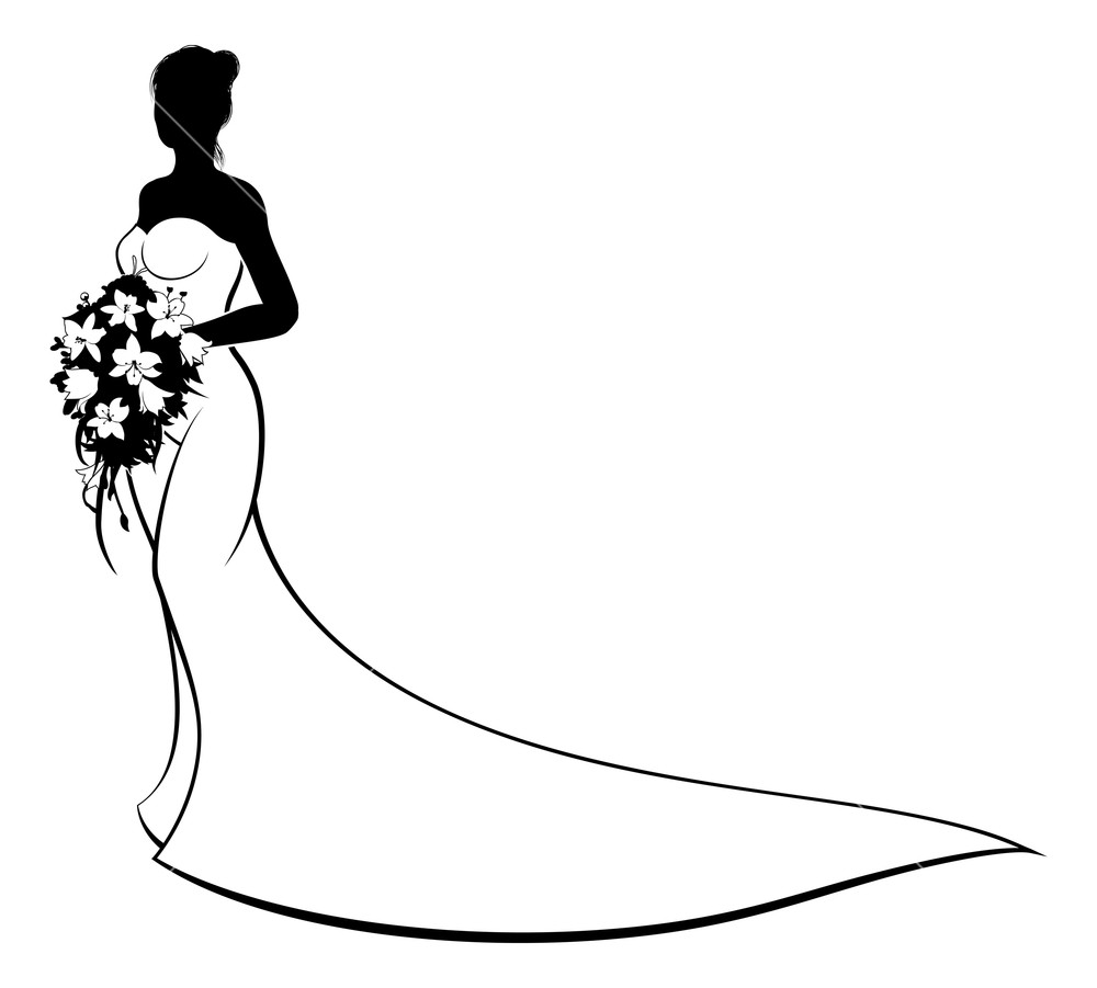1000x901 Wedding Concept Of Bride Silhouette In White Bridal Dress Gown