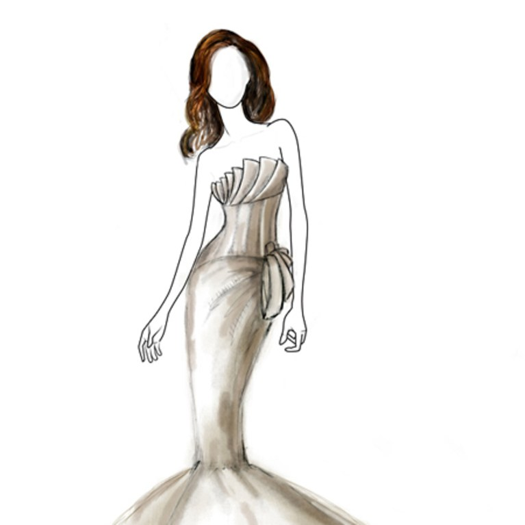 767x767 Angelina Jolie's Fantasy Wedding Gown Sketch David Tutera Brides