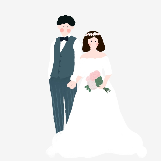 640x640 Hand Drawn Groom Bride Character Design Painted,bridegroom,bride