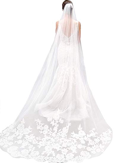 421x550 Ivory Lace Edge Cathedral Length Wedding Bridal Veil With Comb