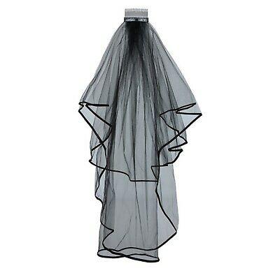 400x394 Ladies Tier Black Wedding Veil With Comb Halloween Bride Day