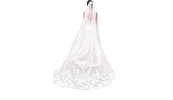 600x350 Yipeisha Lace Edge Cathedral Length Wedding Bridal Veil Comb