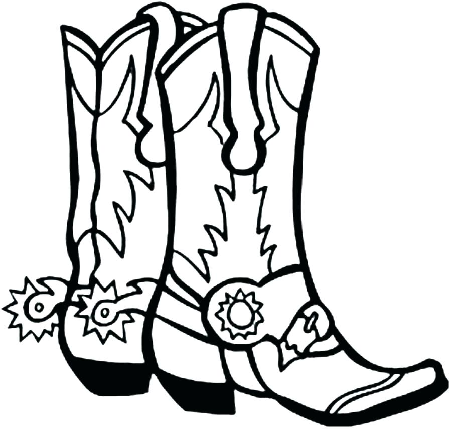 903x857 western coloring pages drawing of a cowboy boot printable western