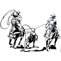 250x250 western graphics team roping decal western silhouettes art