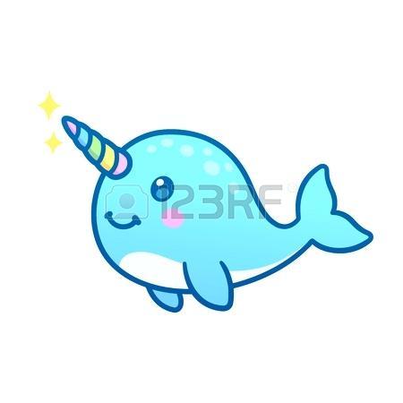 450x450 a whale with a horn cute cartoon magic narwhal with rainbow horn