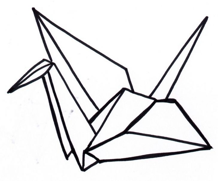 728x604 origami drawing origami crane for free download