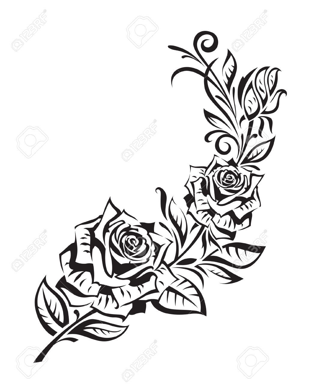 1063x1300 Black And White Rose Bush Drawing