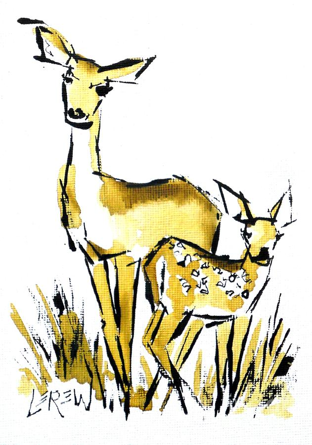 631x900 White Tail Doe And Fawn Deer Drawing