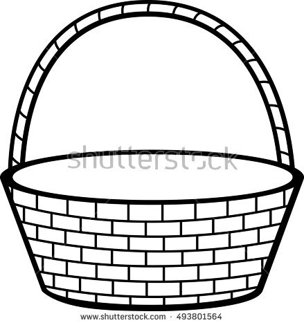 439x470 Collection Of Free Basket Clipart Line Drawing Amusement