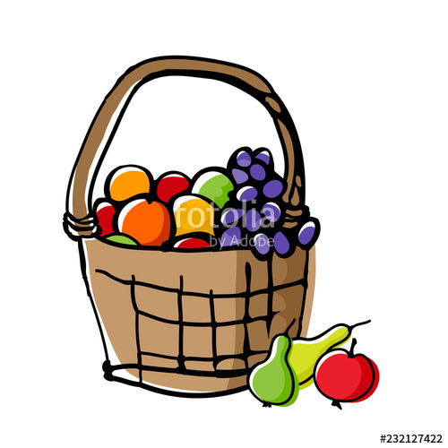 500x500 Fruits In Wicker Basket Doodle Style Drawing With Offset Effect