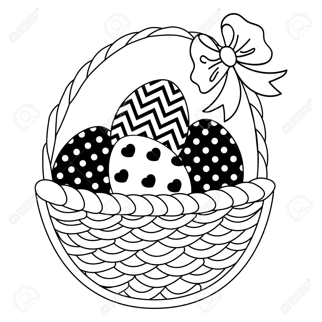 1300x1300 In Clipart Of Egg Black And White Vector Wicker Basket