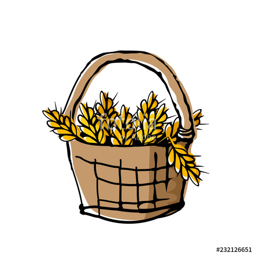 500x500 Wheat Ears In Wicker Basket Doodle Style Drawing With Offset