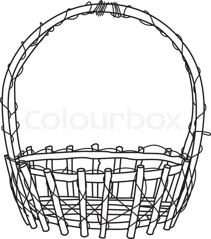 708x800 Wicker Basket Outline Vector Stock Vector Colourbox