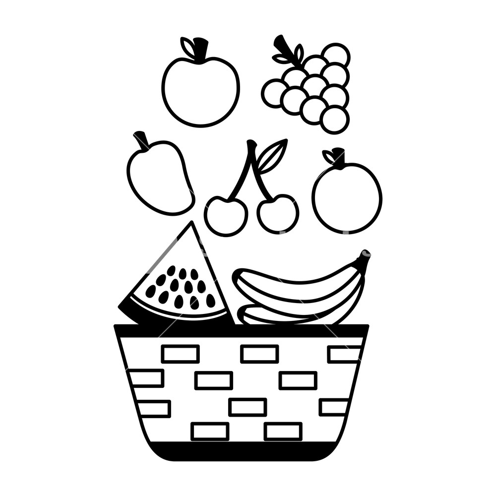 1000x1000 Wicker Basket With Fruits Apple Grapes Banana And Mango Vector