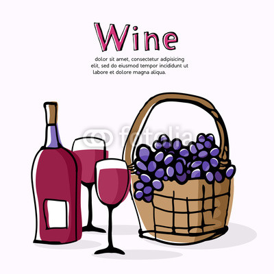 400x400 Claret Wine And Grapes In Wicker Basket Doodle Style Drawing