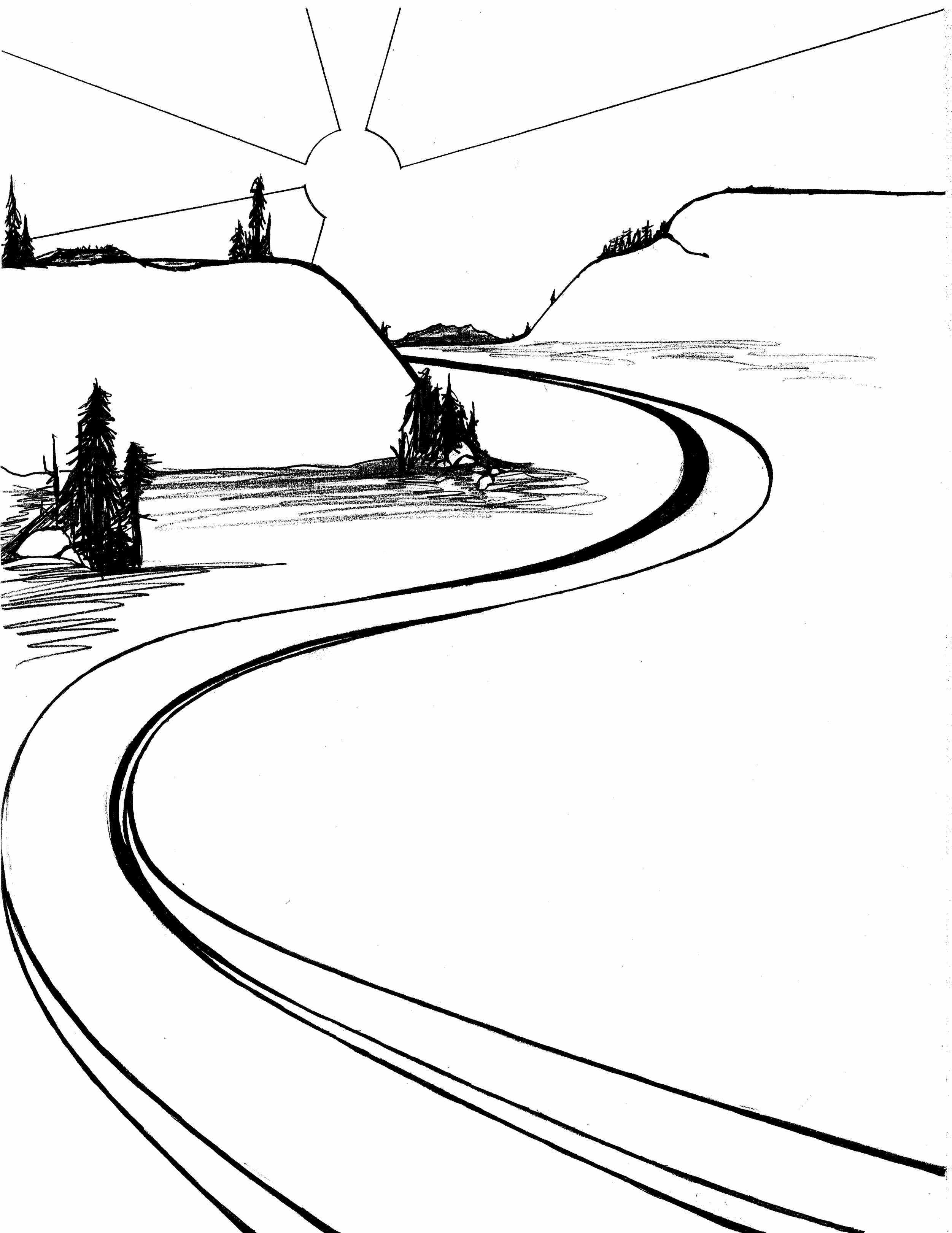2503x3242 river drawing winding river for free download