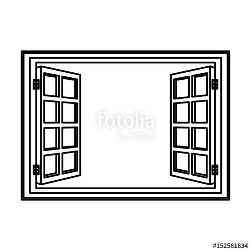500x500 Open Window Frame Wooden Image Vector Illustration Stock Image