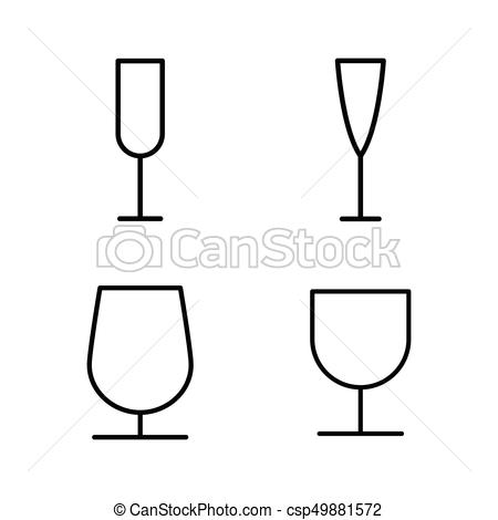 450x470 thin line wine glass icons on white background thin line