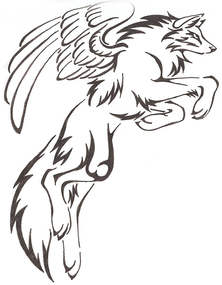 Demon Wolf With Wings Drawing
