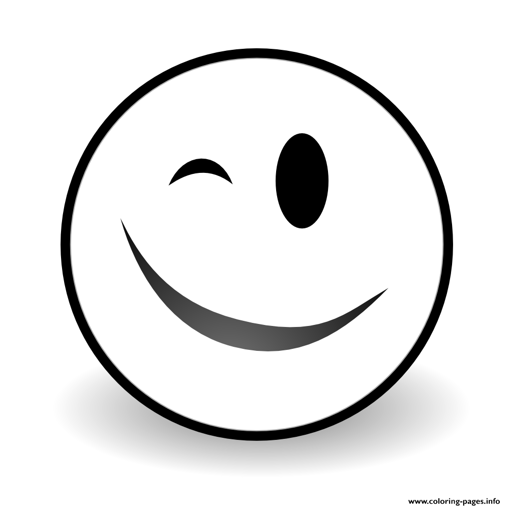 999x999 Print Winky Face Emoji Coloring Pages Printables Emoji