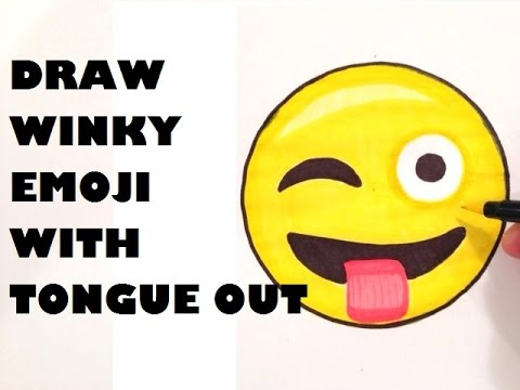 480x360 How To Draw An Emoji Winking With Tongue Out