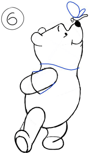 300x508 How To Draw Winnie The Poo And Butterfly With Step