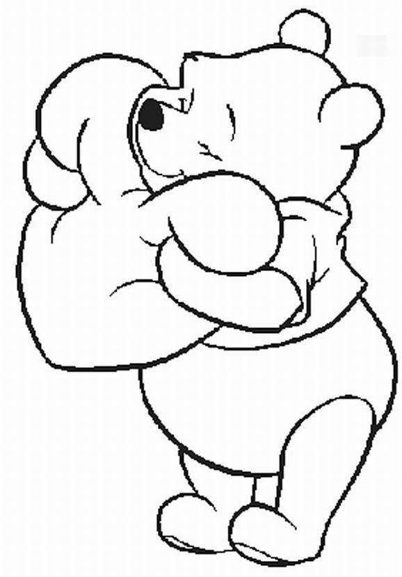 578x830 Pooh Hugging Heart All Pooh Valentine Coloring Pages