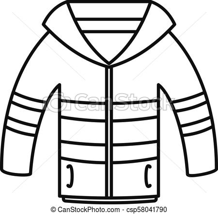 450x443 winter jacket icon, outline style winter jacket icon outline