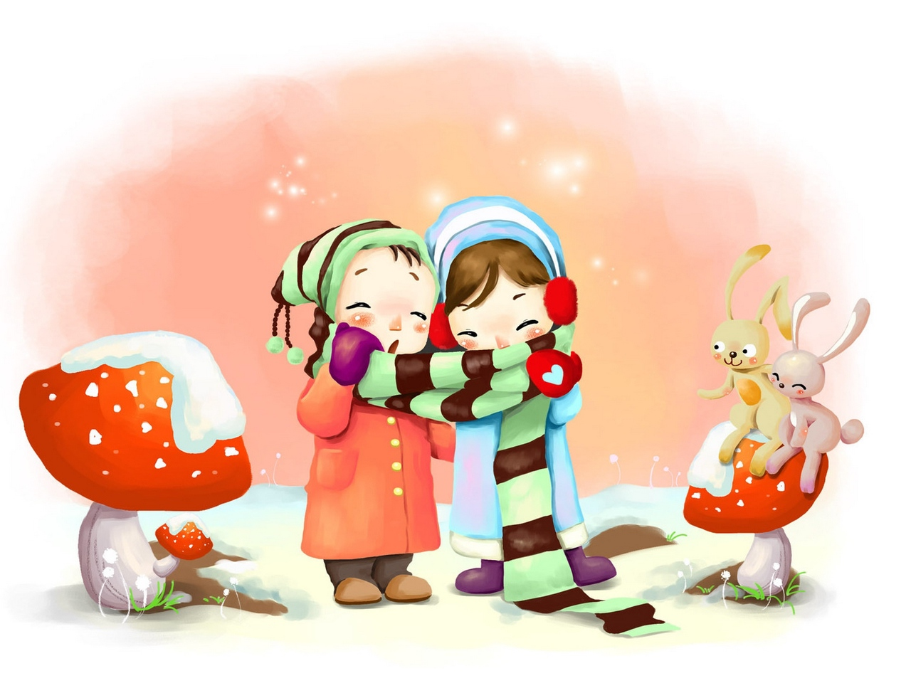 1280x960 Download Wallpaper Drawing, Winter, Kids, Breath