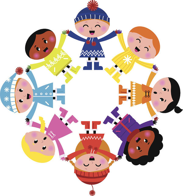 600x641 Happy Winter Cartoon Kids In Circle Isolated On White Art Print