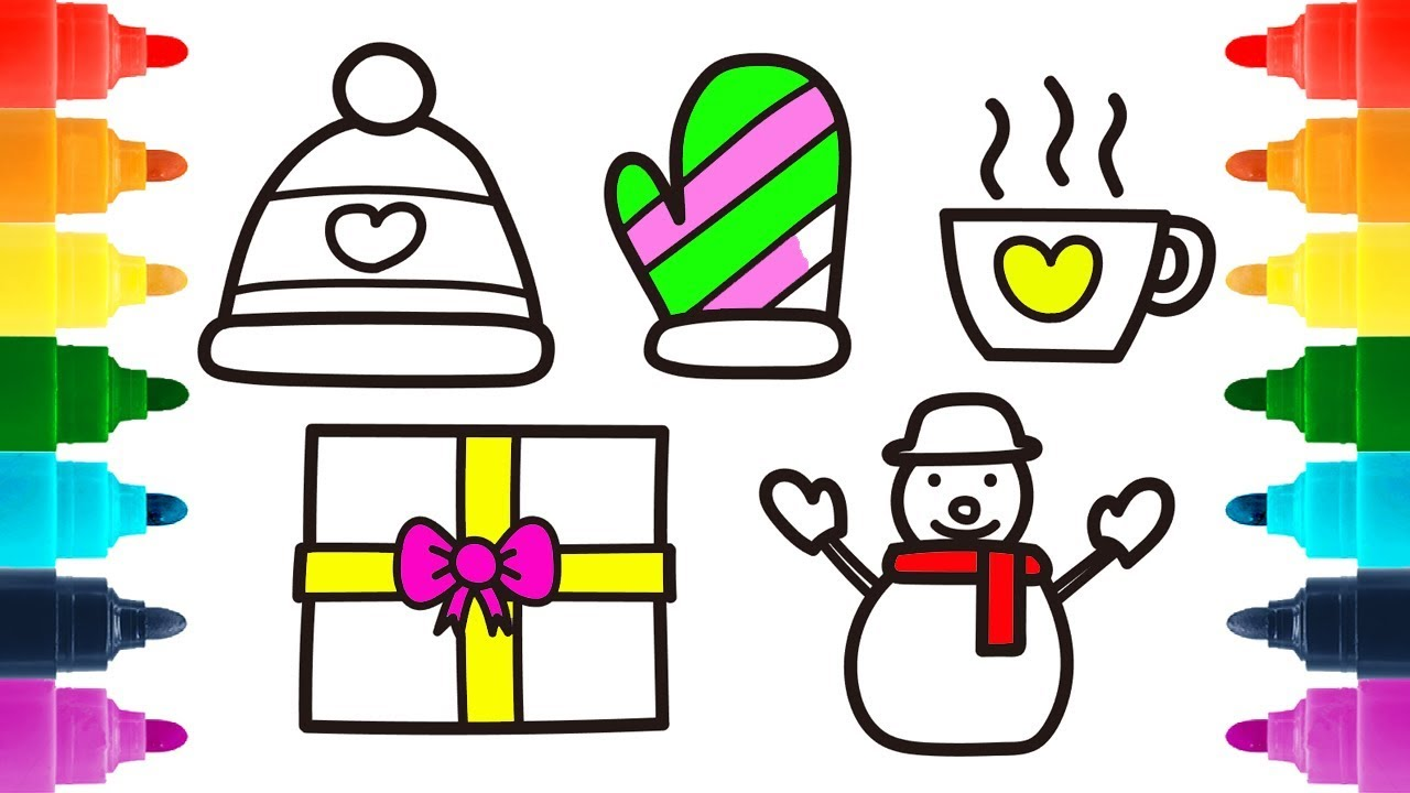 1280x720 How To Draw Winter Hat, Mitten And Snowman